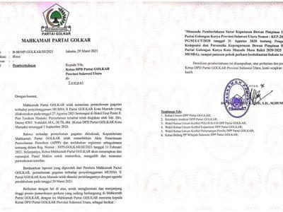 Kepengurusan Hasil Musda X Partai Golkar Manado Berstatus Quo