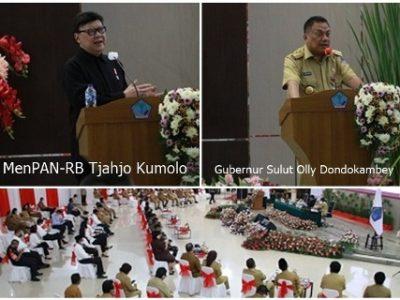 MenPAN-RB Tjahjo Kumolo,Gubernur Sulut Sulut Olly Dondokambey dan tamu dan undangan yang hadir mengikuti ceramah MenPAN-RB