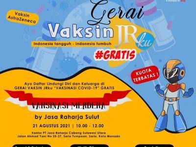 """Gerai Vaksin JRku #Gratis"" Kolaborasi Jasa Raharja dan Polda Sulut, Sukses Dilaksanakan"