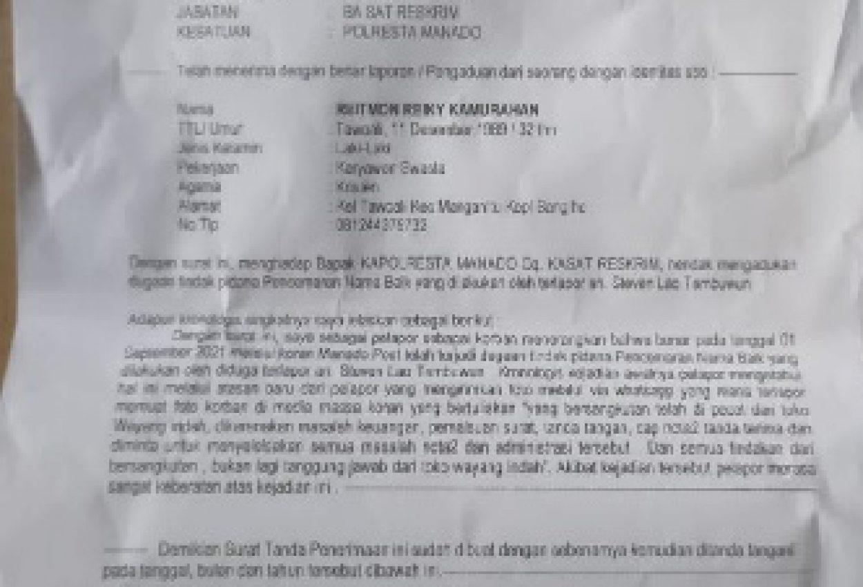 Surat Tanda Terima Laporan Pengaduan di Mapolresta Manado